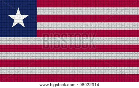 Flags Liberia With Abstract Textures. Rasterized