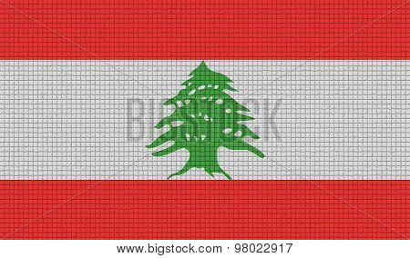 Flags Lebanon With Abstract Textures. Rasterized