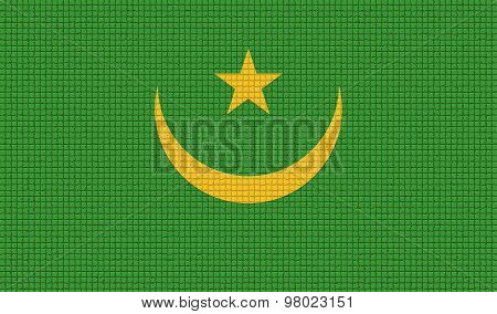 Flags Mauritania With Abstract Textures. Rasterized