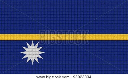 Flags Nauru With Abstract Textures. Rasterized