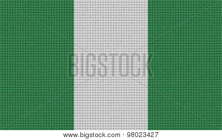 Flags Nigeria With Abstract Textures. Rasterized