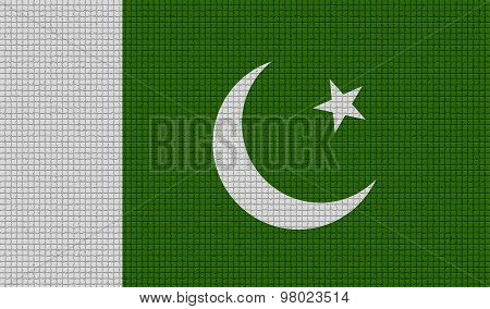 Flags Pakistan With Abstract Textures. Rasterized