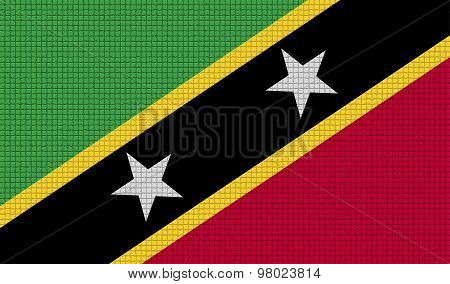 Flags Saint Kitts Nevis With Abstract Textures. Rasterized