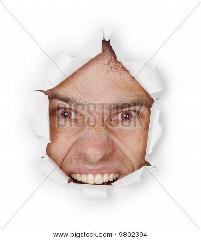 Violent Evil Man Looks Through A Hole