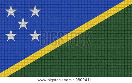 Flags Solomon Islands With Abstract Textures. Rasterized