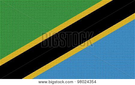 Flags Tanzania With Abstract Textures. Rasterized