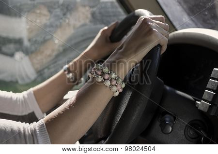 Female Driver Hands