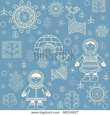 Winter abstract wallpaper with Eskimo, trees and igloo