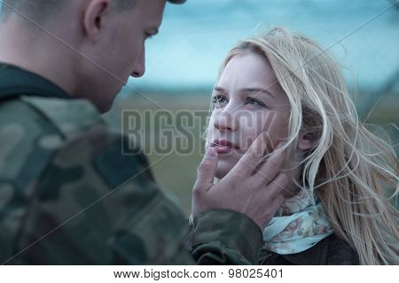 Soldier Saying Goodbye