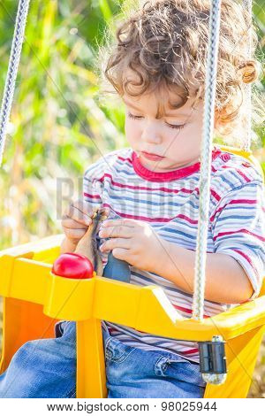 Baby Boy In A Swing