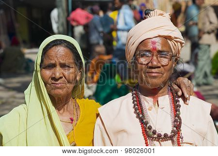 Portrait of two unidentified pilgrims at the street in Orchha India.