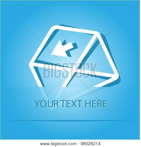 mail left arrow. Paper sticker as bookmark. Vector illustration. Eps10.