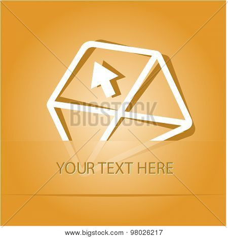 mail up arrow. Paper sticker as bookmark. Vector illustration. Eps10.