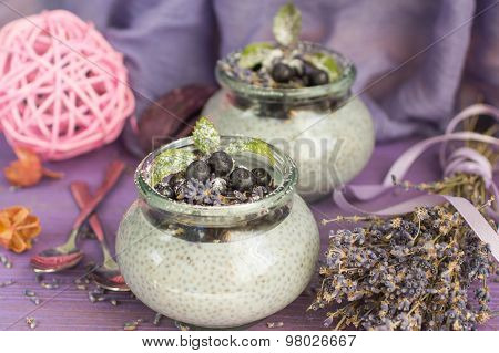A pudding with Chia seeds, blueberries and lavender