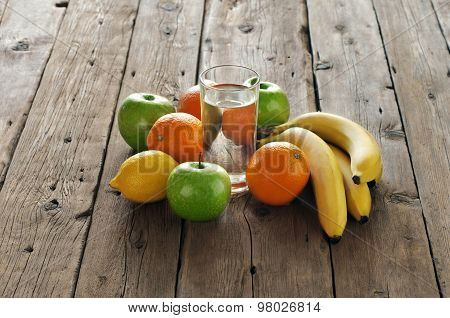 Fruit With A Glass Of Water