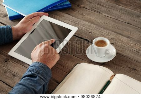 Men Hand Clicks On The Screen Blank Tablet