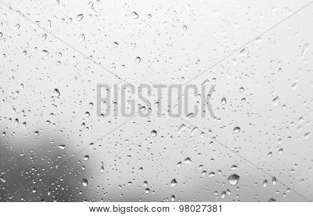 Drops Of Rain On The Inclined Window