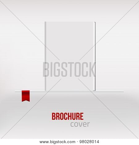 Vector Blank vertical blank book cover template standing at shelf.