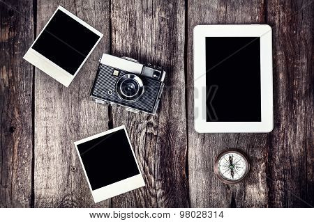 Camera, Tablet And Photos