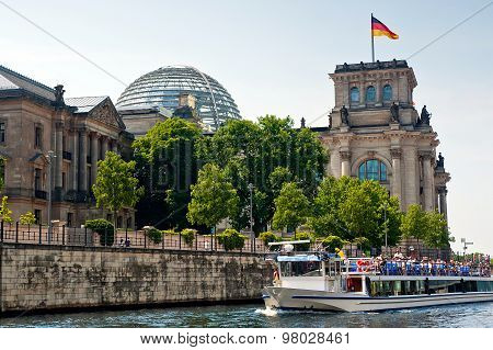 Reichstag building and Spree river in Germany