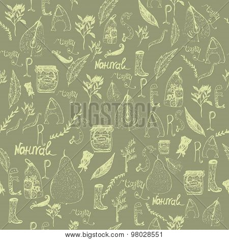 Vector vintage Elegant seamless doodle pattern with pears, jar, boots and letterng on dark backgroun