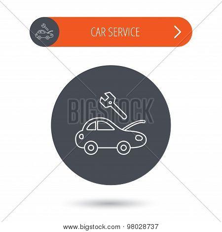 Car service icon. Transport repair sign.