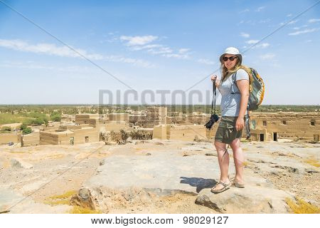 Tafilalt oasis in Morocco -  tourist looking view from Tingheras ksar