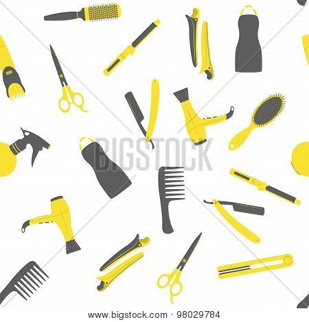 Barber shop seamless vector pattern.