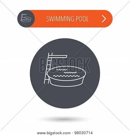 Swimming pool icon. Jumping into water sign.