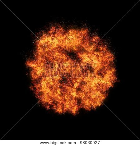 Fire ball with free space for text. isolated on black background