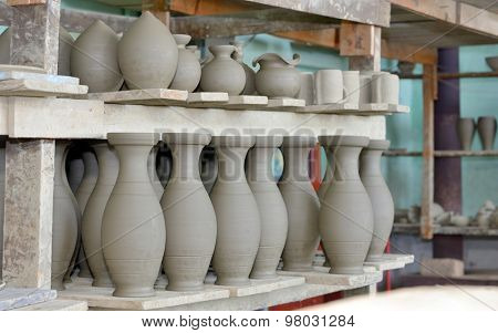 clay pottery ceramics inside of workshop