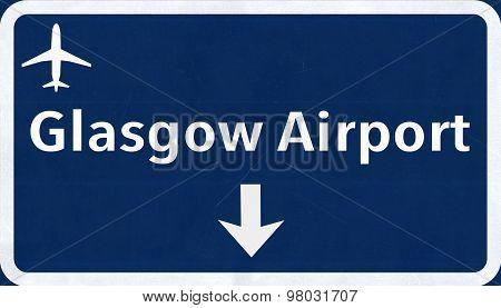 Glasgow Scotland United Kingdom Airport Highway Sign