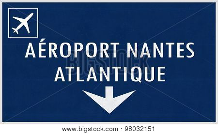 Nantes France Airport Highway Sign