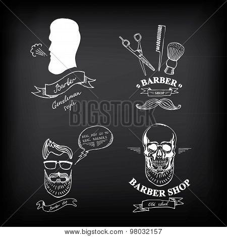 Barber shop labels and design badges,vector icons.
