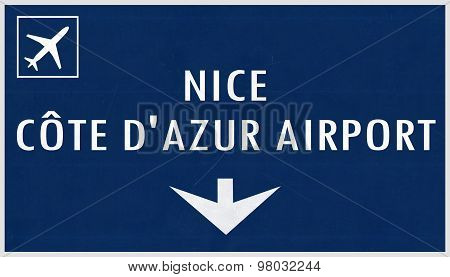 Nice France Airport Highway Sign