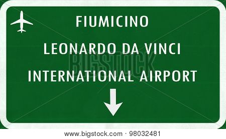 Roma Fiumicino Italy Airport Highway Sign