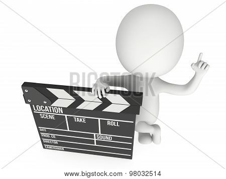 3D Man With Cinema Clapperboard