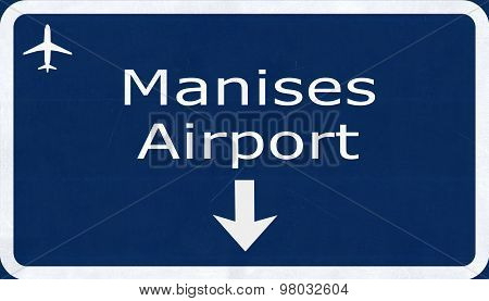 Valancia Manises Spain Airport Highway Sign