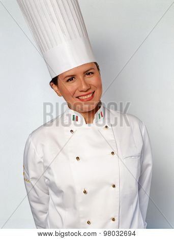 Satisfaction Female chef portrait.