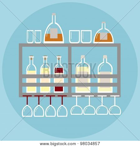 Home bar on the shelf in modern style with stemware and bottles of alcohol.