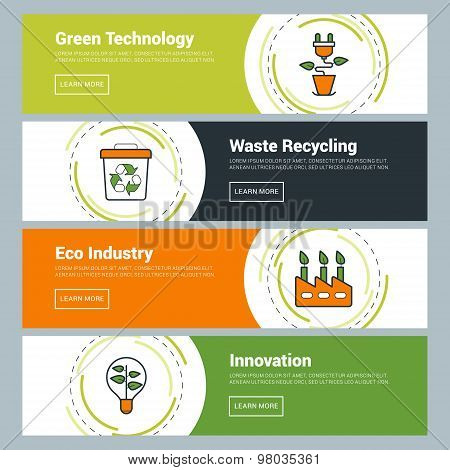 Flat Design Concept. Set Of Vector Web Banners. Green Technology, Waste Recycling, Eco Industry, Inn