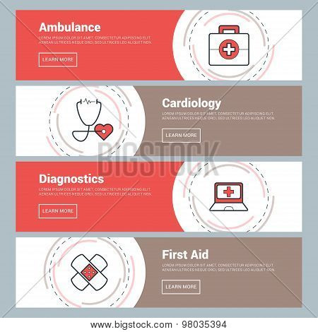 Flat Design Concept. Set Of Vector Web Banners. Ambulance, Cardiology, Diagnostics, First Aid