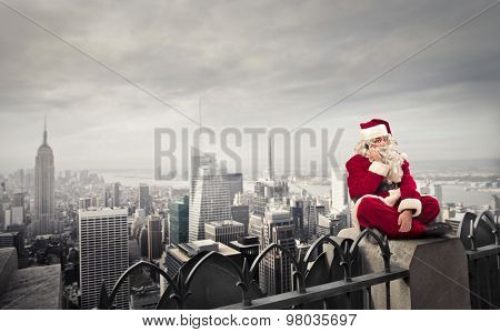 Santa Claus and grey skyline