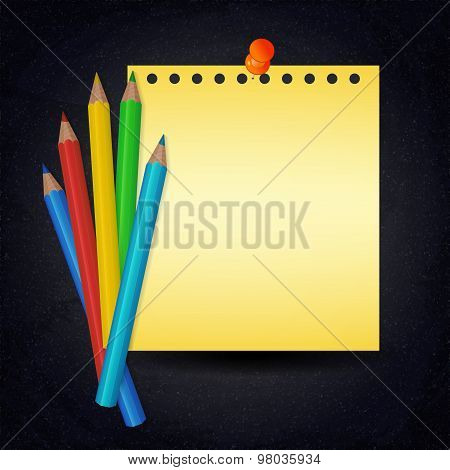 Paper With Push Pin And Colorful Pencils On Chalkboard