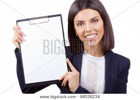 Portrait Of Young Business Woman With Clipboard