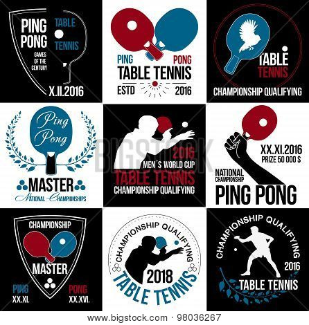 Set of table tennis logos, labels and badges.