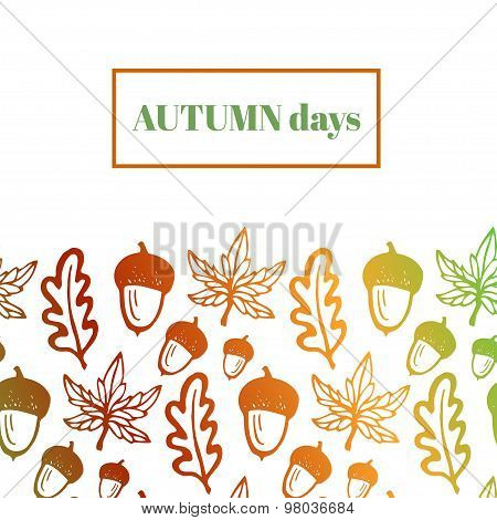 Autumn background with acorns, maple and oak leaves. Hand drawn vector background for notebook cover