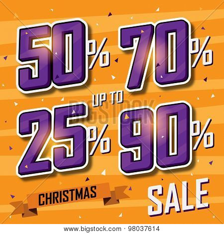 Christmas sale banner Vector sales discount percentage