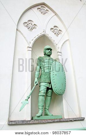 Tsarskoye Selo (Pushkin). Saint-Petersburg, Russia. The Russian knight on the facade of the White To