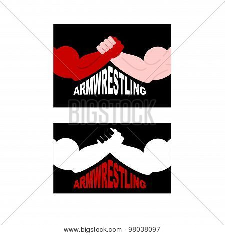 Armwrestling Logo. Two Strong Hands. Vector Illustration